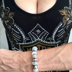 EXCLUSIVE WOMEN'S SILVER GLASS BEADS BRACELET